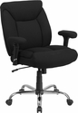 HERCULES Series 400 lb. Capacity Big & Tall Black Fabric Swivel Task Chair with Height Adjustable Arms [GO-2073F-GG]
