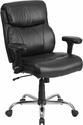 HERCULES Series 400 lb. Capacity Big & Tall Black Leather Swivel Task Chair with Height Adjustable Arms [GO-2031-LEA-GG]