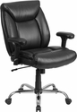 HERCULES Series 400 lb. Capacity Big & Tall Black Leather Swivel Task Chair with Height Adjustable Arms [GO-2073-LEA-GG]