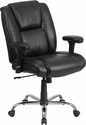 HERCULES Series 400 lb. Capacity Big & Tall Black Leather Swivel Task Chair with Height Adjustable Arms [GO-2132-LEA-GG]