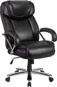 HERCULES Series Big & Tall 500 lb. Rated Black Leather Executive Swivel Chair with Extra Wide Seat [GO-2092M-1-BK-GG]