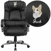 Embroidered HERCULES Series Big & Tall 500 lb. Rated Black Leather Executive Swivel Chair with Chrome Base and Arms [GO-2222-EMB-GG]