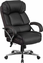 HERCULES Series 500 lb. Capacity Big & Tall Black Leather Executive Swivel Office Chair with Padded Leather Chrome Arms [GO-2222-GG]
