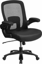 HERCULES Series Big & Tall 500 lb. Rated Black Mesh Executive Swivel Chair with Leather Seat and Adjustable Lumbar [BT-20180-LEA-GG]