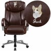 Embroidered HERCULES Series Big & Tall 500 lb. Rated Brown Leather Executive Swivel Chair with Extra Wide Seat [GO-2092M-1-BN-EMB-GG]