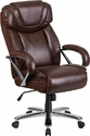HERCULES Series 500 lb. Capacity Big & Tall Brown Leather Executive Swivel Office Chair with Extra Wide Seat [GO-2092M-1-BN-GG]