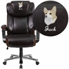 Embroidered HERCULES Series Big & Tall 500 lb. Rated Brown Leather Executive Swivel Chair with Height Adjustable Headrest [GO-2223-BN-EMB-GG]