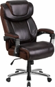 HERCULES Series Big & Tall 500 lb. Rated Brown Leather Executive Swivel Chair with Height Adjustable Headrest [GO-2223-BN-GG]