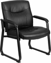 HERCULES Series 500 lb. Capacity Big & Tall Black Leather Executive Side Chair with Sled Base [GO-2136-GG]