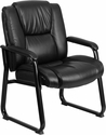 HERCULES Series 500 lb. Capacity Big & Tall Black Leather Executive Side Chair with Sled Base [GO-2138-GG]