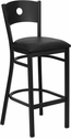 HERCULES Series Black Circle Back Metal Restaurant Barstool - Black Vinyl Seat [XU-DG-60120-CIR-BAR-BLKV-GG]