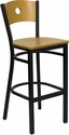 HERCULES Series Black Circle Back Metal Restaurant Barstool - Natural Wood Back & Seat [XU-DG-6F6B-CIR-BAR-NATW-GG]