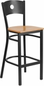 HERCULES Series Black Circle Back Metal Restaurant Barstool - Natural Wood Seat [XU-DG-60120-CIR-BAR-NATW-GG]