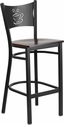 HERCULES Series Black Coffee Back Metal Restaurant Barstool - Walnut Wood Seat [XU-DG-60114-COF-BAR-WALW-GG]