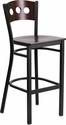 HERCULES Series Black Decorative 3 Circle Back Metal Restaurant Barstool - Walnut Wood Back & Seat [XU-DG-60516-WAL-BAR-MTL-GG]