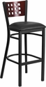 HERCULES Series Black Decorative Cutout Back Metal Restaurant Barstool - Mahogany Wood Back, Black Vinyl Seat [XU-DG-60118-MAH-BAR-BLKV-GG]