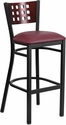 HERCULES Series Black Decorative Cutout Back Metal Restaurant Barstool - Mahogany Wood Back, Burgundy Vinyl Seat [XU-DG-60118-MAH-BAR-BURV-GG]