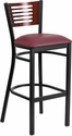 HERCULES Series Black Decorative Slat Back Metal Restaurant Barstool - Mahogany Wood Back, Burgundy Vinyl Seat [XU-DG-6H1B-MAH-BAR-BURV-GG]