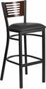 HERCULES Series Black Decorative Slat Back Metal Restaurant Barstool - Walnut Wood Back, Black Vinyl Seat [XU-DG-6H1B-WAL-BAR-BLKV-GG]