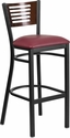 HERCULES Series Black Decorative Slat Back Metal Restaurant Barstool - Walnut Wood Back, Burgundy Vinyl Seat [XU-DG-6H1B-WAL-BAR-BURV-GG]