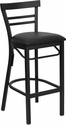 HERCULES Series Black Ladder Back Metal Restaurant Barstool - Black Vinyl Seat [XU-DG6R9BLAD-BAR-BLKV-GG]
