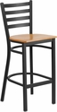 HERCULES Series Black Ladder Back Metal Restaurant Barstool - Natural Wood Seat [XU-DG697BLAD-BAR-NATW-GG]