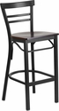 HERCULES Series Black Ladder Back Metal Restaurant Barstool - Walnut Wood Seat [XU-DG6R9BLAD-BAR-WALW-GG]