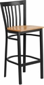 HERCULES Series Black School House Back Metal Restaurant Barstool - Natural Wood Seat [XU-DG6R8BSCH-BAR-NATW-GG]