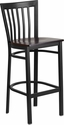 HERCULES Series Black School House Back Metal Restaurant Barstool - Walnut Wood Seat [XU-DG6R8BSCH-BAR-WALW-GG]