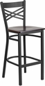 HERCULES Series Black ''X'' Back Metal Restaurant Barstool - Walnut Wood Seat [XU-6F8BXBK-BAR-WALW-GG]