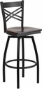 HERCULES Series Black ''X'' Back Swivel Metal Barstool - Walnut Wood Seat [XU-6F8B-XSWVL-WALW-GG]