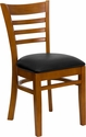 HERCULES Series Cherry Finished Ladder Back Wooden Restaurant Chair - Black Vinyl Seat [XU-DGW0005LAD-CHY-BLKV-GG]