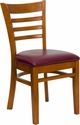 HERCULES Series Cherry Finished Ladder Back Wooden Restaurant Chair - Burgundy Vinyl Seat [XU-DGW0005LAD-CHY-BURV-GG]