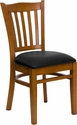 HERCULES Series Cherry Finished Vertical Slat Back Wooden Restaurant Chair - Black Vinyl Seat [XU-DGW0008VRT-CHY-BLKV-GG]