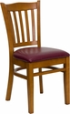 HERCULES Series Cherry Finished Vertical Slat Back Wooden Restaurant Chair - Burgundy Vinyl Seat [XU-DGW0008VRT-CHY-BURV-GG]