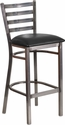 HERCULES Series Clear Coated Ladder Back Metal Restaurant Barstool - Black Vinyl Seat [XU-DG697BLAD-CLR-BAR-BLKV-GG]