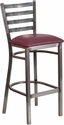 HERCULES Series Clear Coated Ladder Back Metal Restaurant Barstool - Burgundy Vinyl Seat [XU-DG697BLAD-CLR-BAR-BURV-GG]
