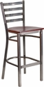 HERCULES Series Clear Coated Ladder Back Metal Restaurant Barstool - Mahogany Wood Seat [XU-DG697BLAD-CLR-BAR-MAHW-GG]