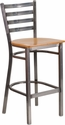 HERCULES Series Clear Coated Ladder Back Metal Restaurant Barstool - Natural Wood Seat [XU-DG697BLAD-CLR-BAR-NATW-GG]