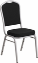 HERCULES Series Crown Back Stacking Banquet Chair with Black Fabric and 2.5'' Thick Seat - Silver Frame [FD-C01-S-11-GG]
