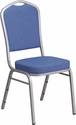 HERCULES Series Crown Back Stacking Banquet Chair with Blue Fabric and 2.5'' Thick Seat - Silver Frame [FD-C01-S-7-GG]
