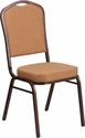 HERCULES Series Crown Back Stacking Banquet Chair in Brown Fabric - Copper Vein Frame [FD-C01-C-4-GG]