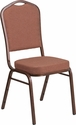 HERCULES Series Crown Back Stacking Banquet Chair with Brown Fabric and 2.5'' Thick Seat - Copper Vein Frame [FD-C01-COP-1-GG]