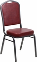 HERCULES Series Crown Back Stacking Banquet Chair with Burgundy Vinyl and 2.5'' Thick Seat - Silver Vein Frame [FD-C01-SILVERVEIN-BURG-VY-GG]