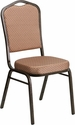 HERCULES Series Crown Back Stacking Banquet Chair in Gold Diamond Patterned Fabric - Gold Vein Frame [FD-C01-GOLDVEIN-GO-GG]