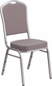 HERCULES Series Crown Back Stacking Banquet Chair with Gray Dot Fabric and 2.5'' Thick Seat - Silver Frame [FD-C01-S-6-GG]