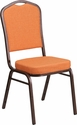 HERCULES Series Crown Back Stacking Banquet Chair with Orange Fabric and 2.5'' Thick Seat - Copper Vein Frame [FD-C01-C-9-GG]