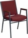 HERCULES Series Heavy Duty, 3'' Thickly Padded, Burgundy Patterned Upholstered Stack Chair with Arms and Ganging Bracket [XU-60154-BY-GG]
