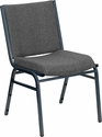 HERCULES Series Heavy Duty, 3'' Thickly Padded, Gray Upholstered Stack Chair with Ganging Bracket [XU-60153-GY-GG]