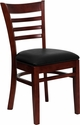 HERCULES Series Mahogany Finished Ladder Back Wooden Restaurant Chair - Black Vinyl Seat [XU-DGW0005LAD-MAH-BLKV-GG]